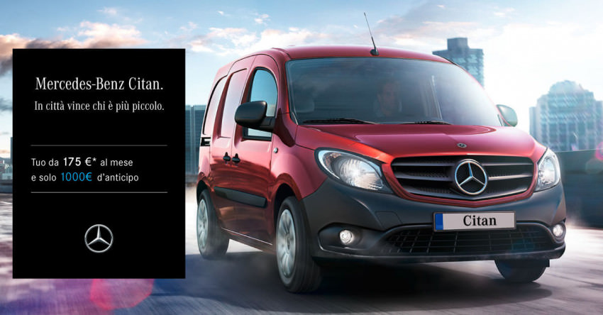 Mercedes-Benz Citan, da 175€ al mese con 1000€ d'anticipo