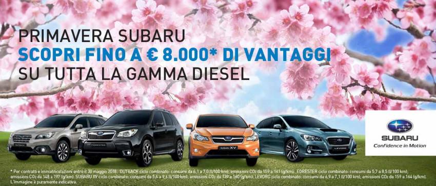 Subaru Spring: fino a 8.000€ di vantaggio per te