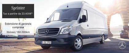 Mercedes-Benz Sprinter. A partire da 23.400€ compresa l'estensione di garanzia